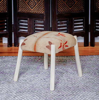 'Eco Print Footstool', Stripped Hazel and Eco Print Fabric