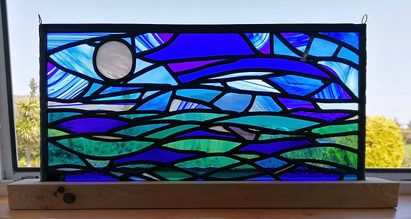 'Moon Over Roaringwater Bay', Stained Glass Panel with Stand