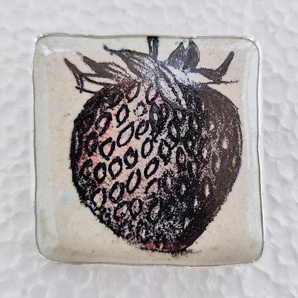 'Strawberry Brooch', Fine Silver, Ceramic by Leda May