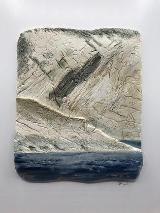 'Rockface', Porcelain Wall Piece on Board