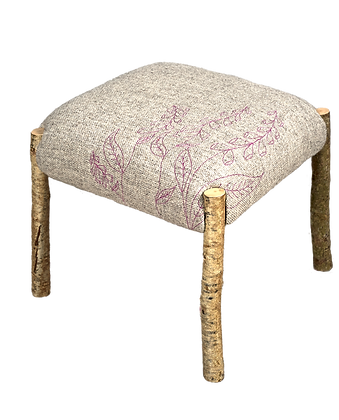 'Foxglove Footstool', Hazel with Wool Textile by Mary Palmer