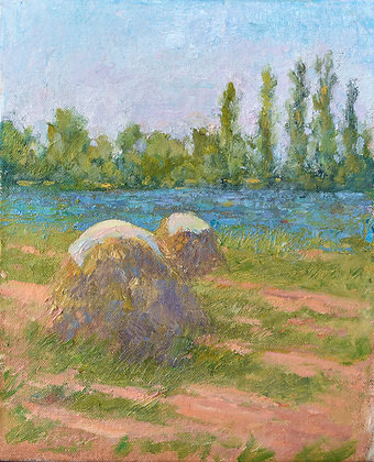 'Haystacks and Blue Flax', Oil on Canvas