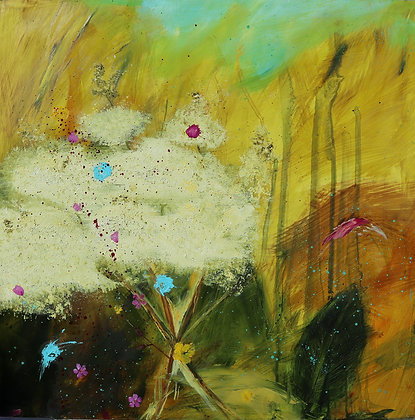 'Hedgerow Meadowsweet', Oil on Cradled Board