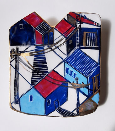 'Lockdown Meanderings' Ceramic Wall Dish, Porcelain Clay with Gold Lustre