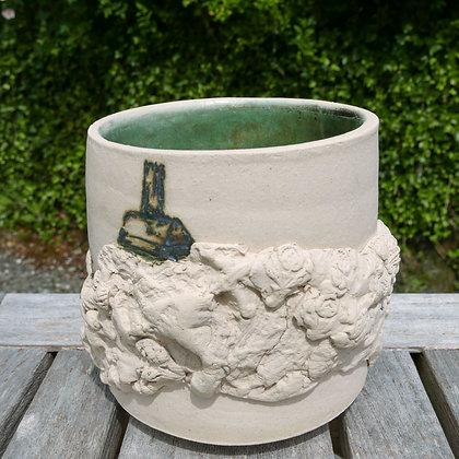 'Garden Views 1', White Stoneware Glazed Vessel