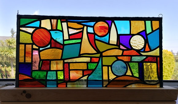 'Breath of West Cork', Stained Glass Panel with Stand