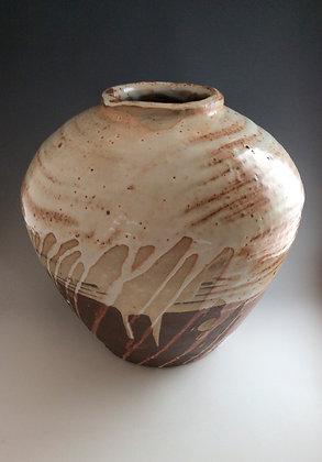 'Vase with Shino Glaze over White Slip', Woodfired Stoneware