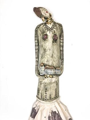 'You + Me = Home' Art Doll, Ceramic, Hand Printed Textile
