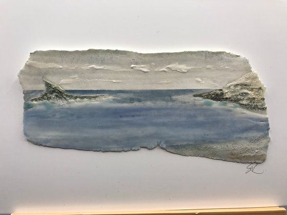 'Peaceful Shore', Porcelain Wall Piece on Board