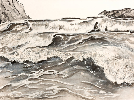'Groundswell Tragumna', Acrylic Paint and Ink on Paper