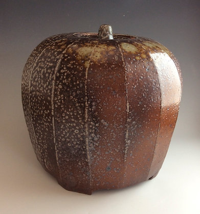 'Lidded Jar Squared and Faceted', Salt-Glaze Woodfired Stoneware