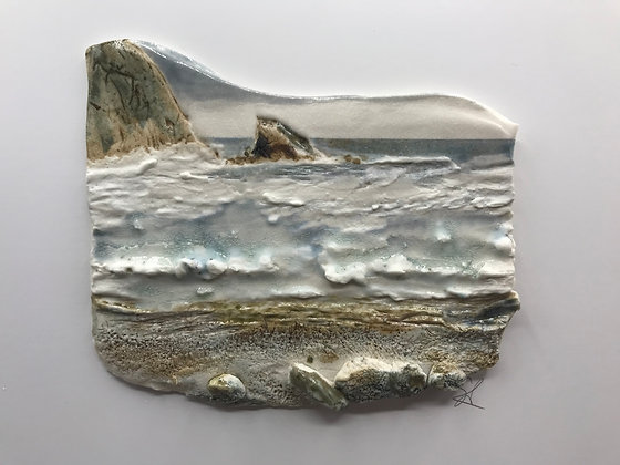 'Stormy Day', Porcelain Wall Piece on Board