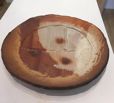 'Textured Plate with Shell Impressions', Woodfired Stoneware