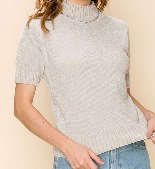 Mock Neck Puffy Sleeve Sweater Top