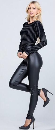 Faux Leather Tummy Tuck Leggings - Black