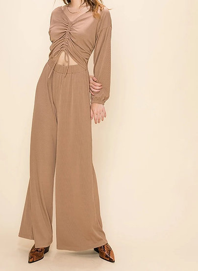 V Neck Long Sleeve Jumpsuit With Front Cut