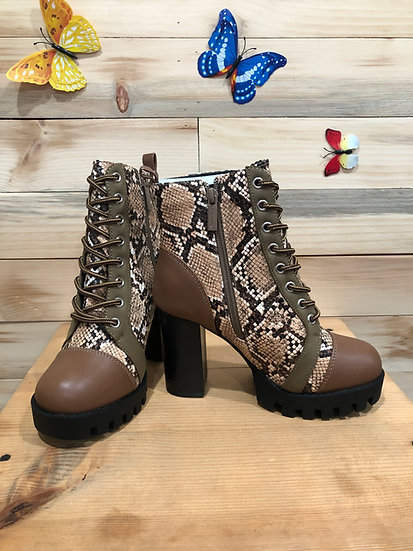 Brown Snake Ankle Booties