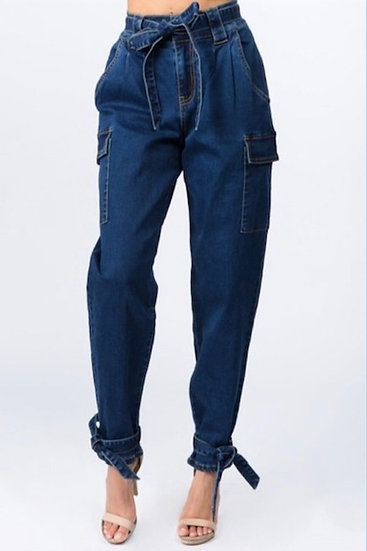Denim Joggers With Ties