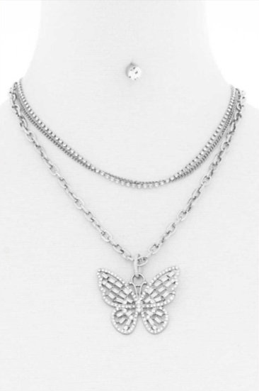 Triple Layer Rhinestone Chain Butterfly Design Necklace With Earring Set