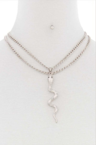 Double Chain Snake Necklace