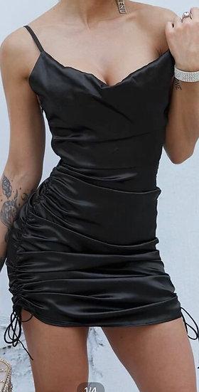 Drawstring Ruched Satin Dress