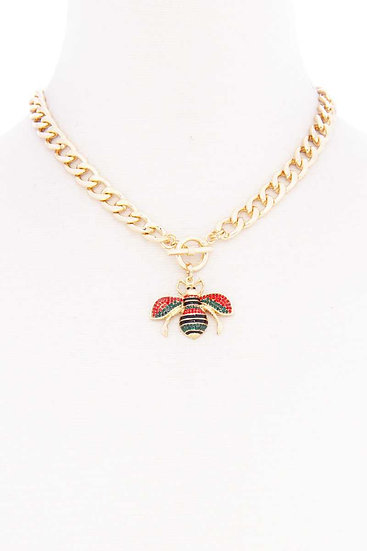 Rhinestone Bee Pendant Toggle Clasp Necklace