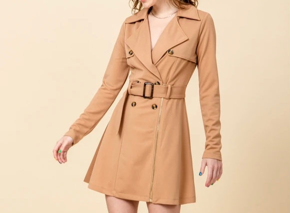Double Breasted Trench Coat With Waist Coat Belt