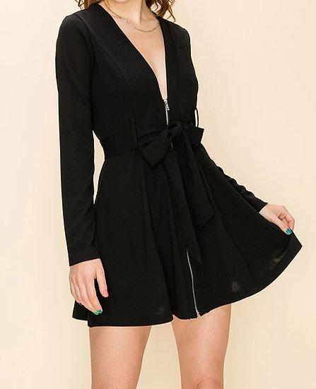 Front Zip Plunging Neck Dress