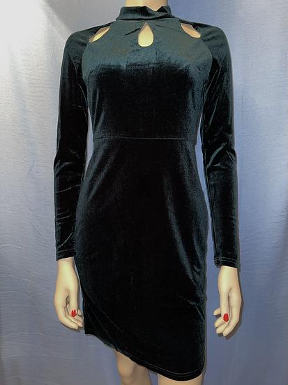 Velvet Mock neck Long Sleeve Dress