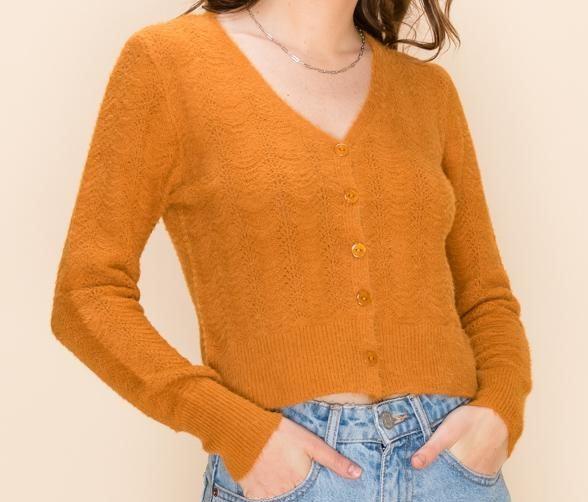 Fuzzy Pointelle V Neck Cardigan Sweater