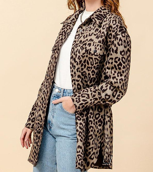 Leopard Print Button Up Coat