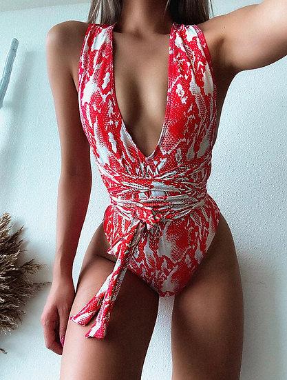 Self-Tie One Piece Swimsuit