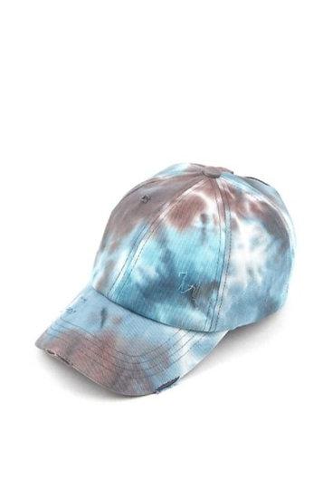 Tie Dye Criss Cross High Ponytail Hat Cap