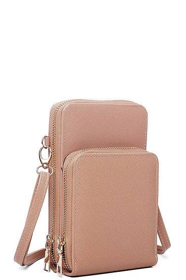Double Zipper Multi Pocket Crossbody Wallet