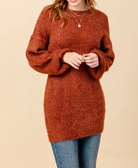 Puff Sleeve Knit Sweater Dress