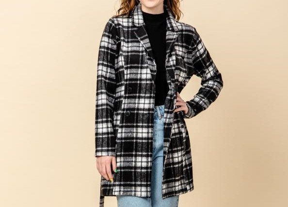 Double Breasted Pocket Side Belted Plaid Coat