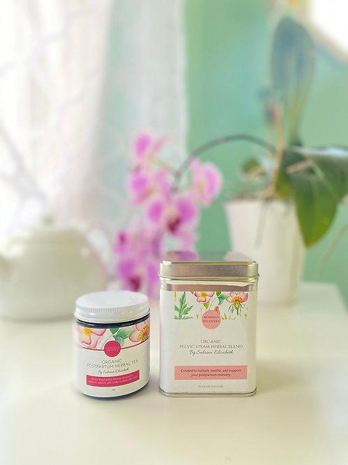 Postpartum Healing Combo: Organic Tea & Pelvic Steam Herbal Blend