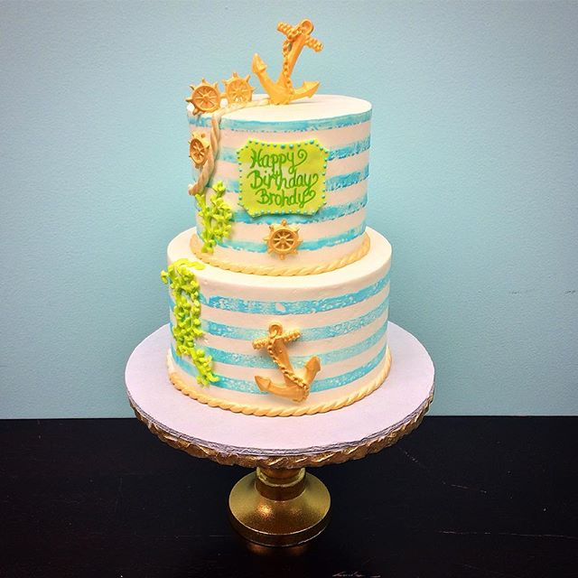 Nautical Themed 1st Birthday Cake ._