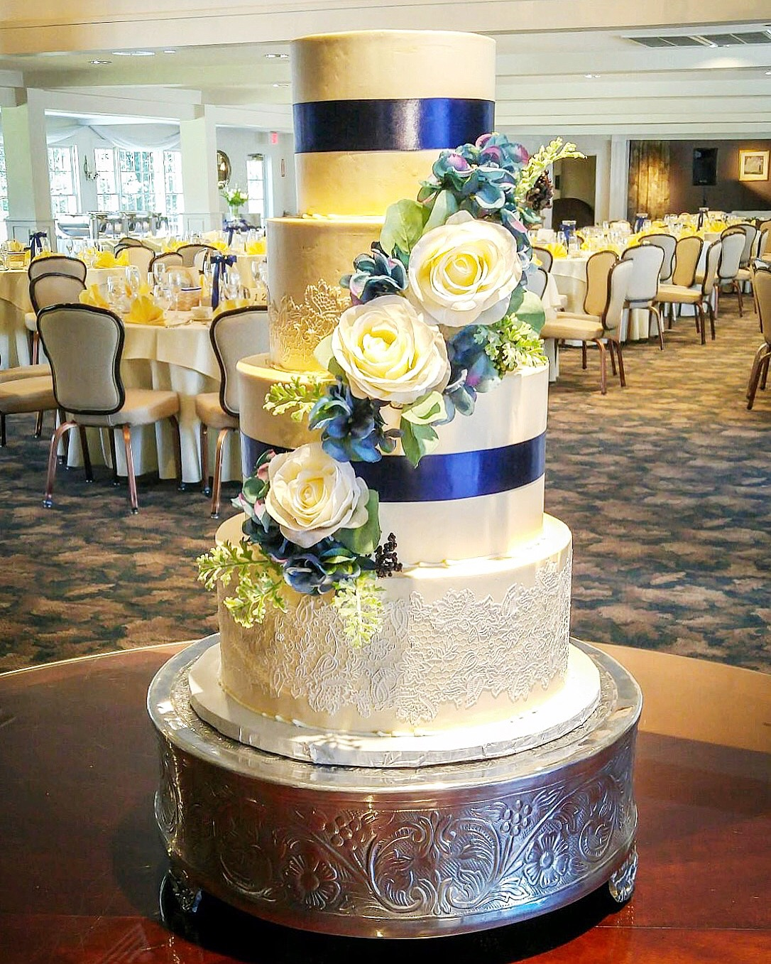 Lace & Blooms Wedding Cake