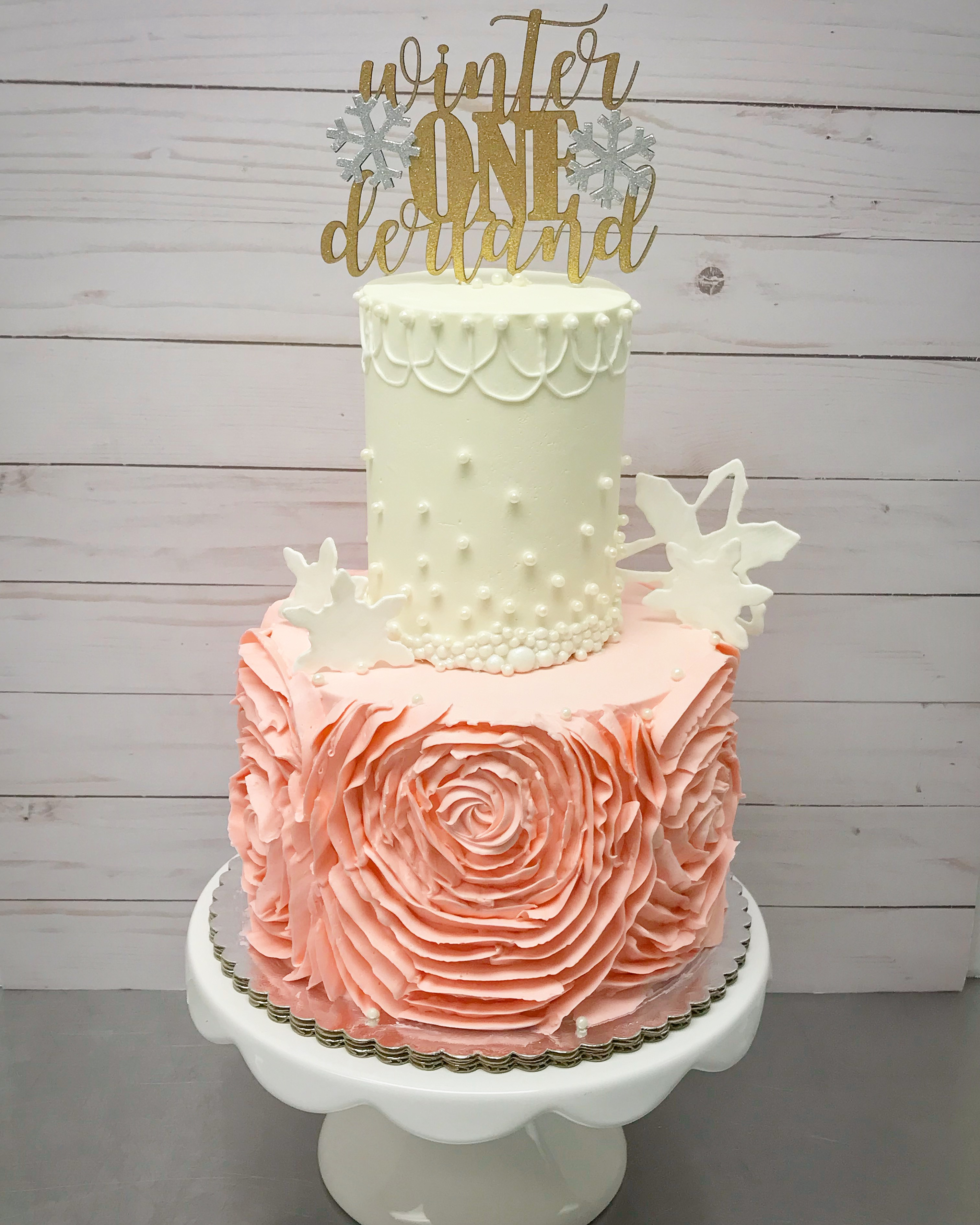 Buttercream ruffles 1st Birthday Cake
