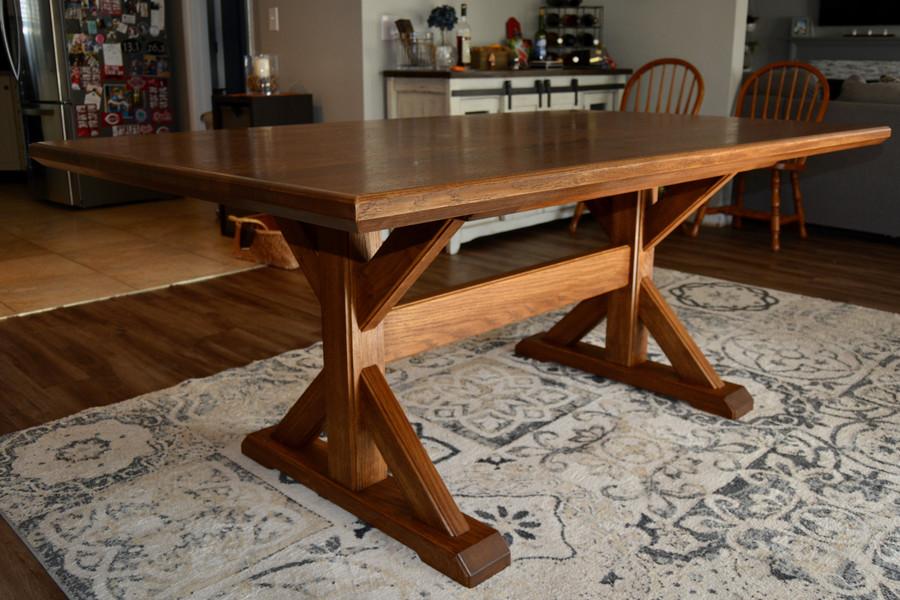 European Oak Trestle Table