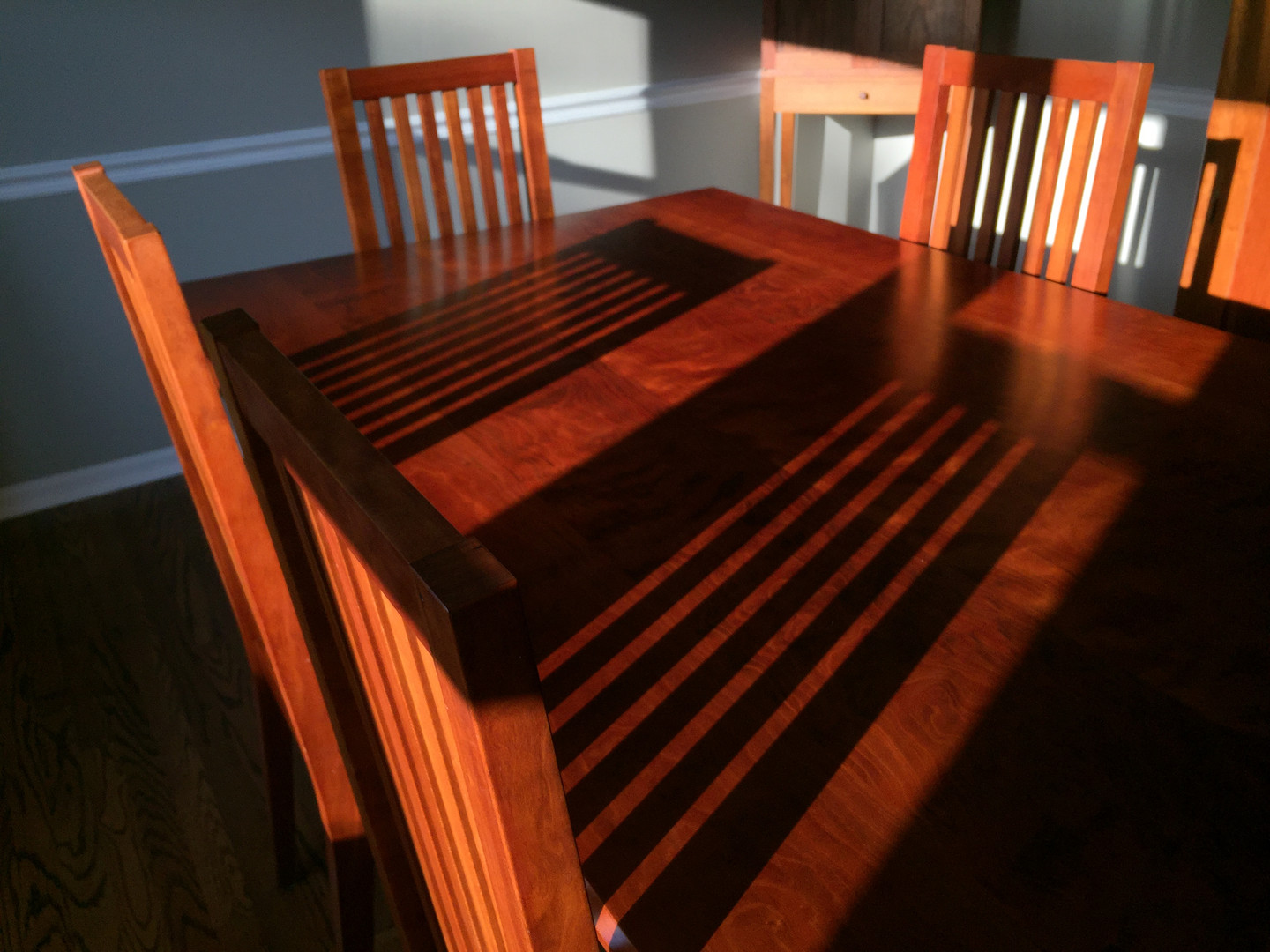 Curly Cherry Dining Table and Chairs
