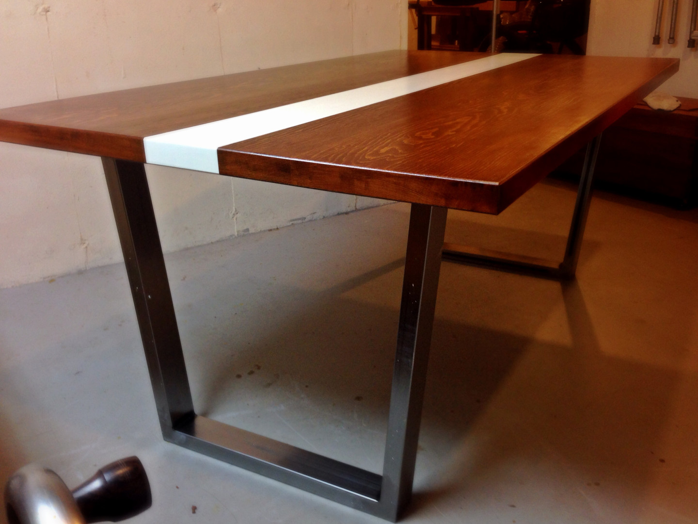 Modern Kitchen Table in Pine and Steel