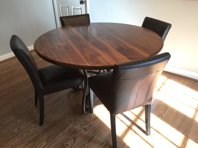 Round Walnut Kitchen Table with Metal Base