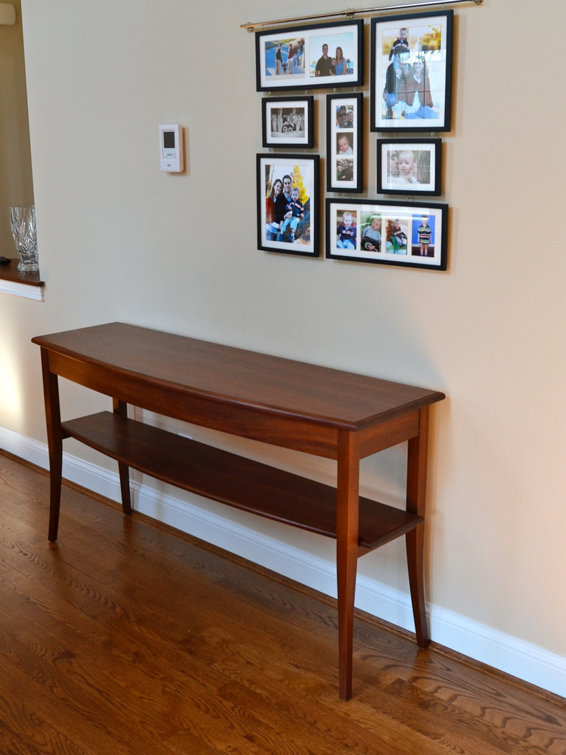 Bowfront Hall Table in Sapele