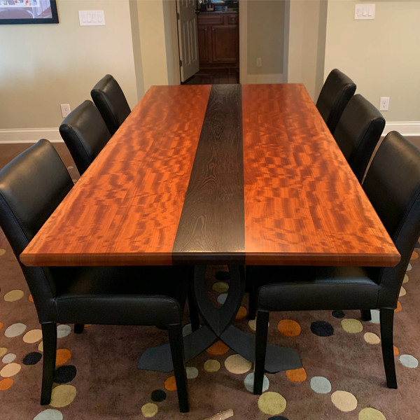 Live edge Makore and Wenge Dining Table