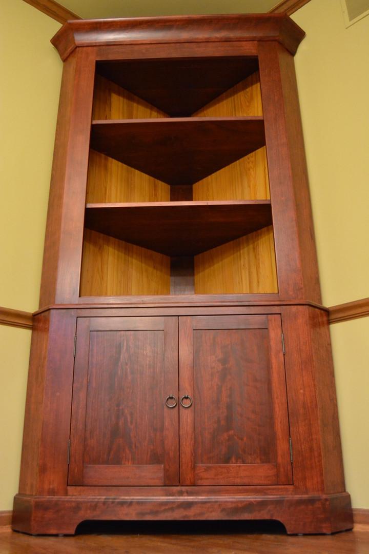 Antiqued Cherry Corner Cabinet