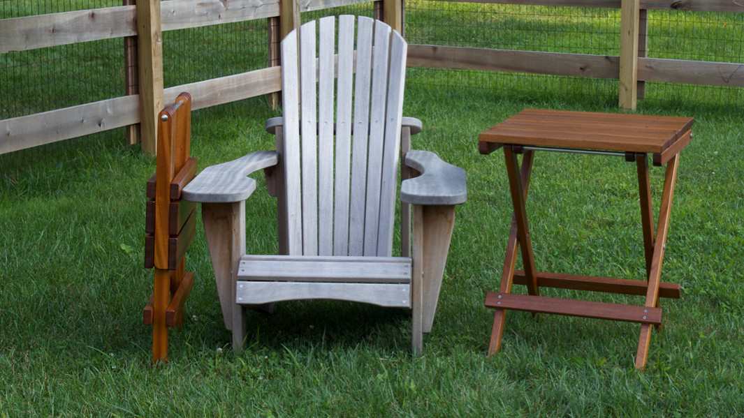 Sapele Adirondack Chair and Portugese Folding Tables