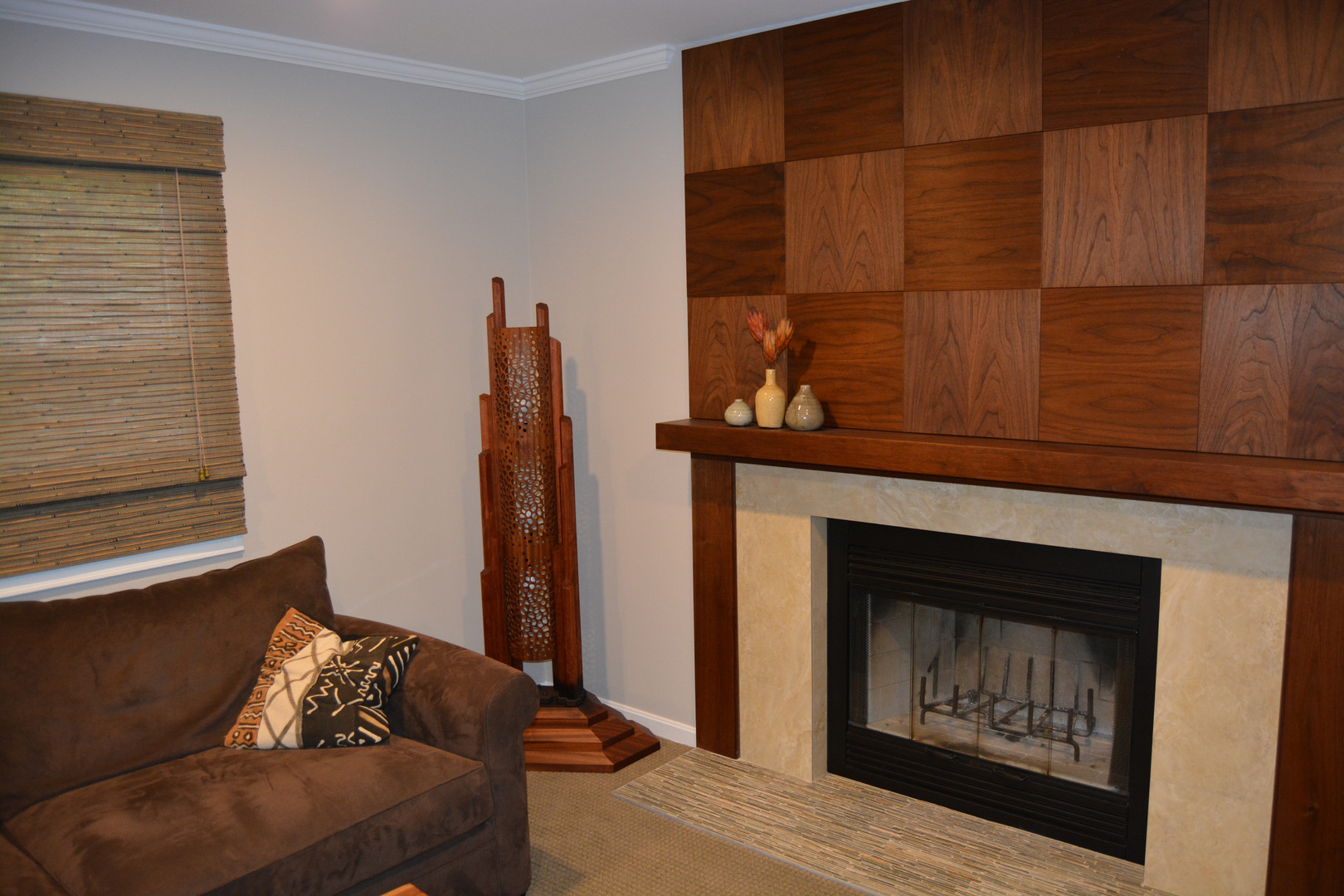 Walnut Mantle and Fireplace Installation