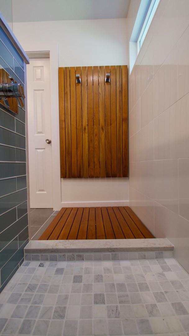 Teak floor mat and wall hooks